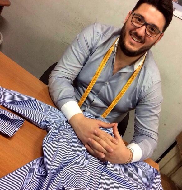 Raffaele smiles from his Italian workshop where he creates Italian-made shirts. | MakersValley Blog