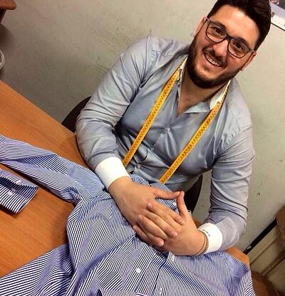 Raffaele smiles from his Italian workshop where he creates Italian-made shirts. | MakersValley Blog