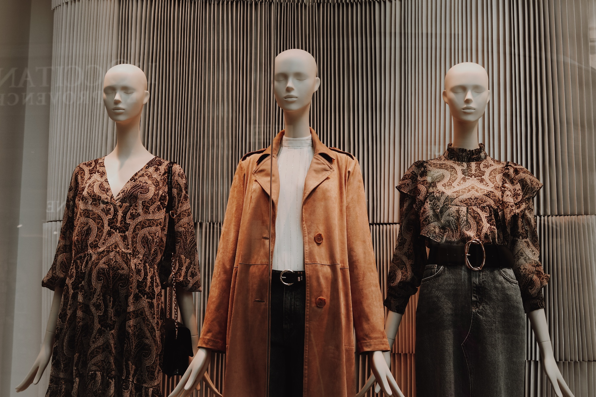 Mannequins wearing clothes
