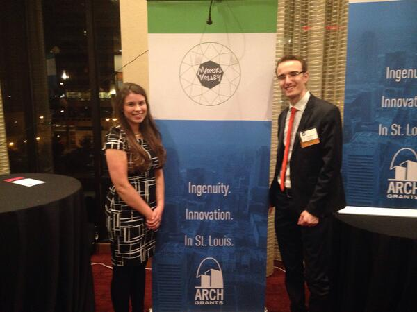 MakersValley founders Alessio Iadicicco and Tiffany Chimal accept the St. Louis Arch Grant on behalf of MakersValley. | MakersValley Blog