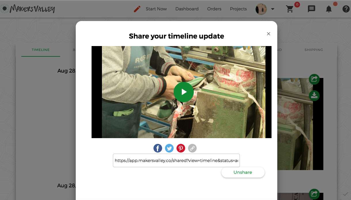 Share video from the MakersValley Platform directly to your social media accounts.