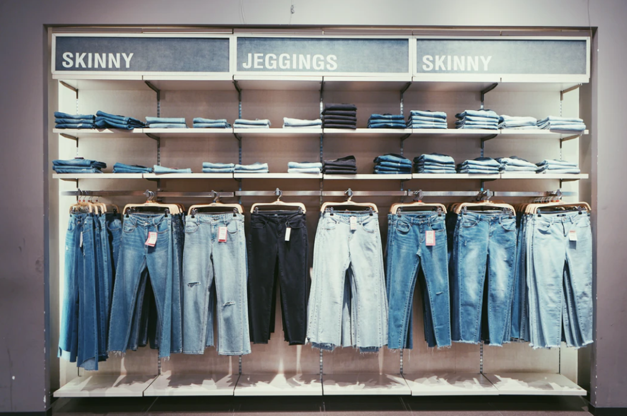 Jeans at clothing store