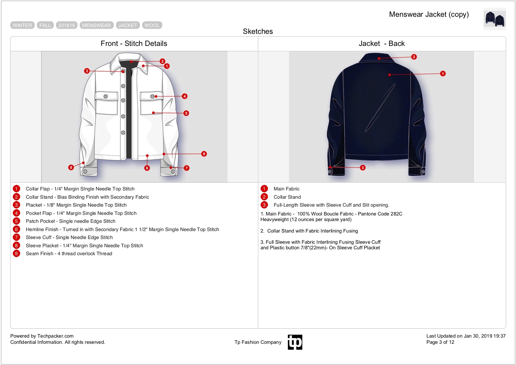 Jacket tech pack from Techpacker