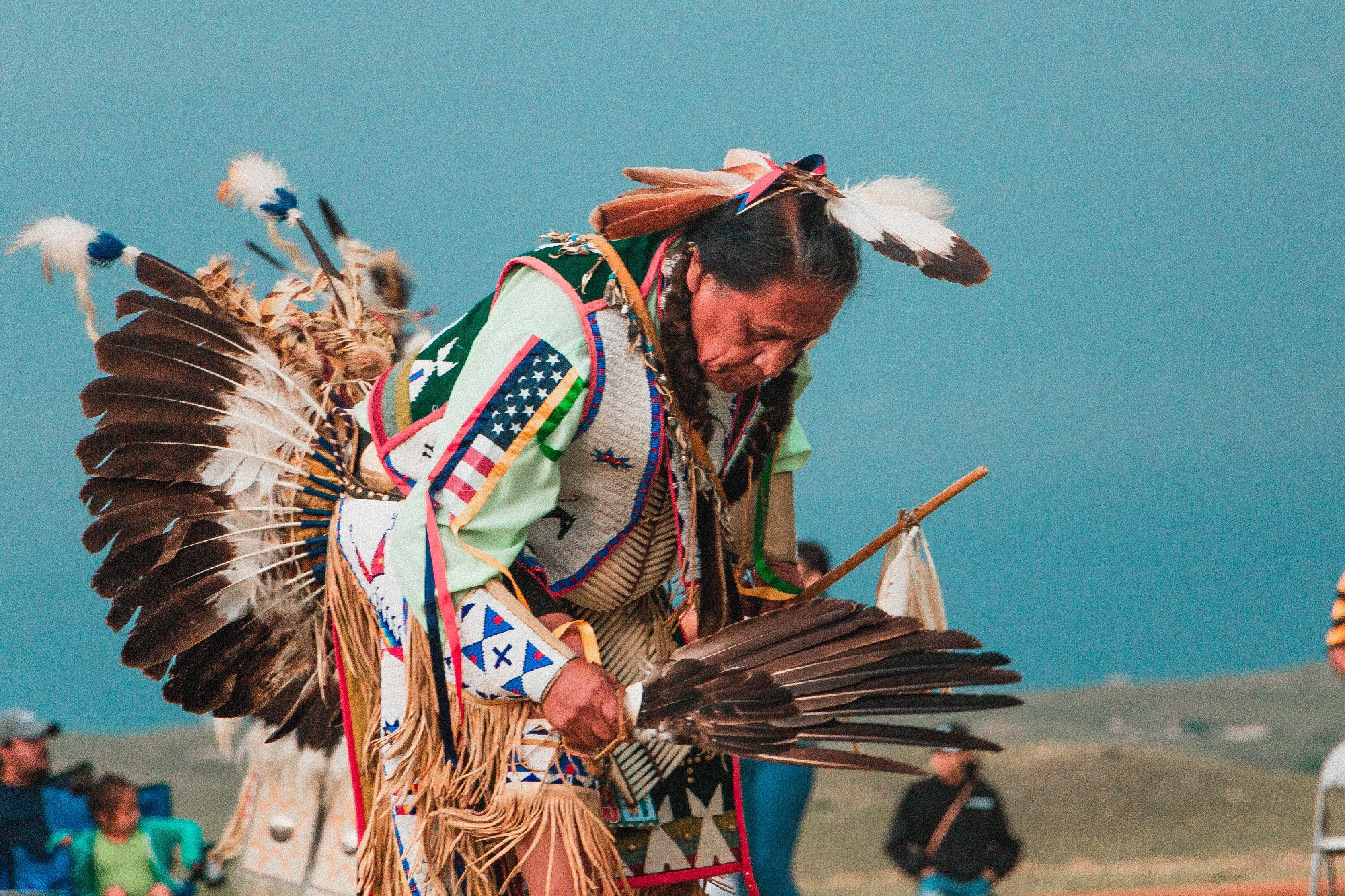 Native American in traditional clothing