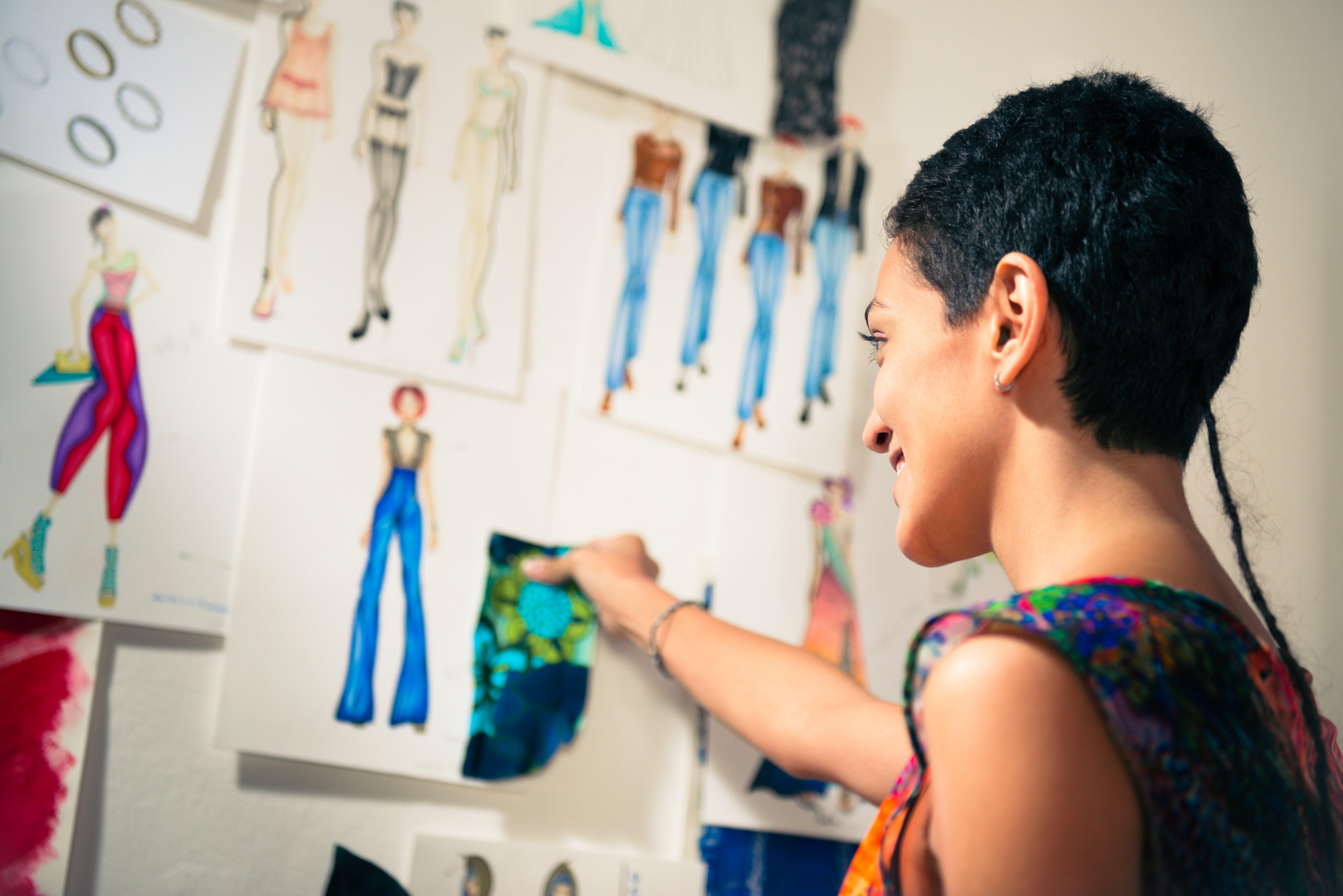 fabrics and fashion sketches