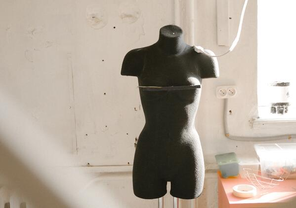 mannequin in cut and sew workshop