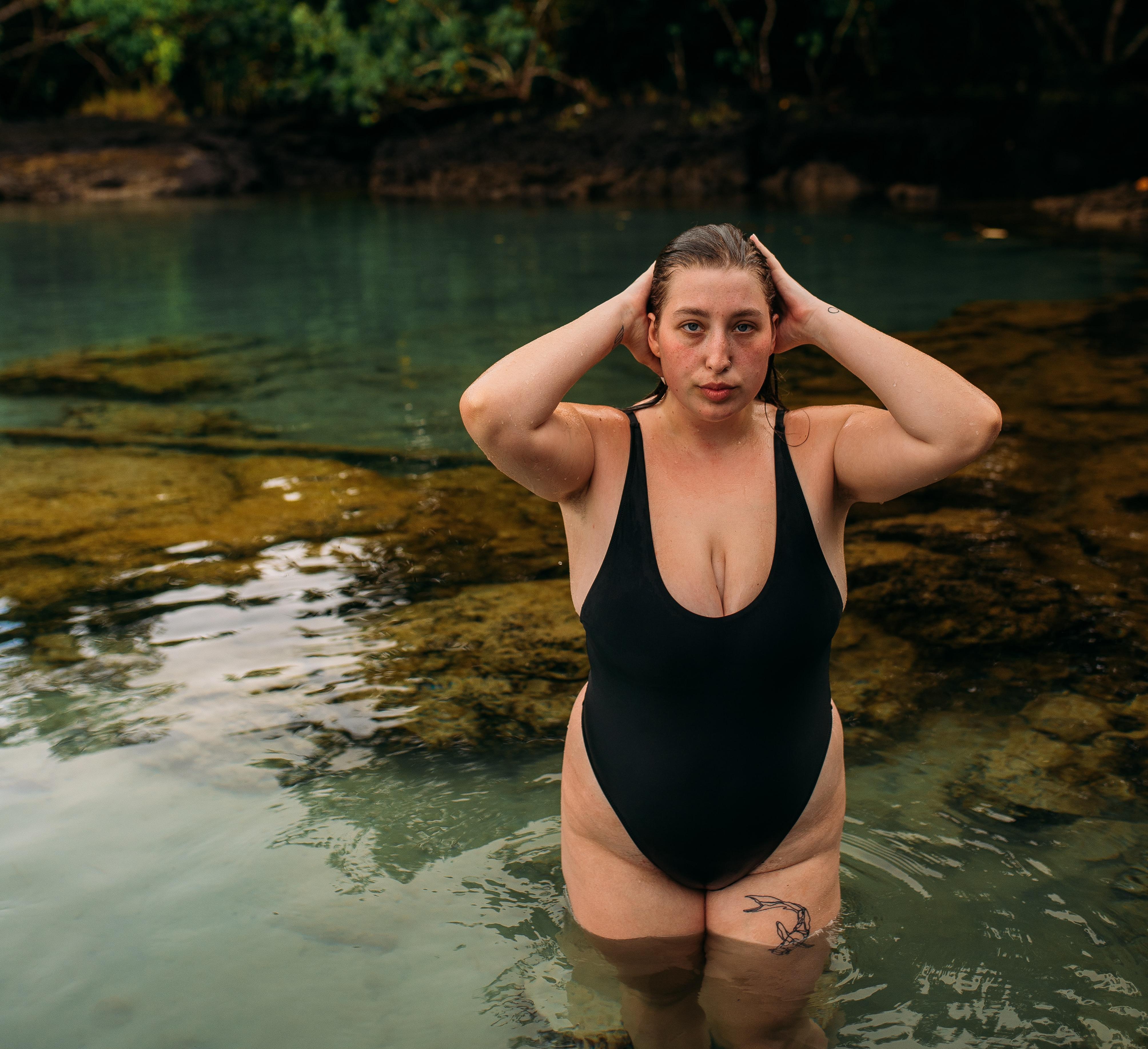 plus-sized woman in bathing suit