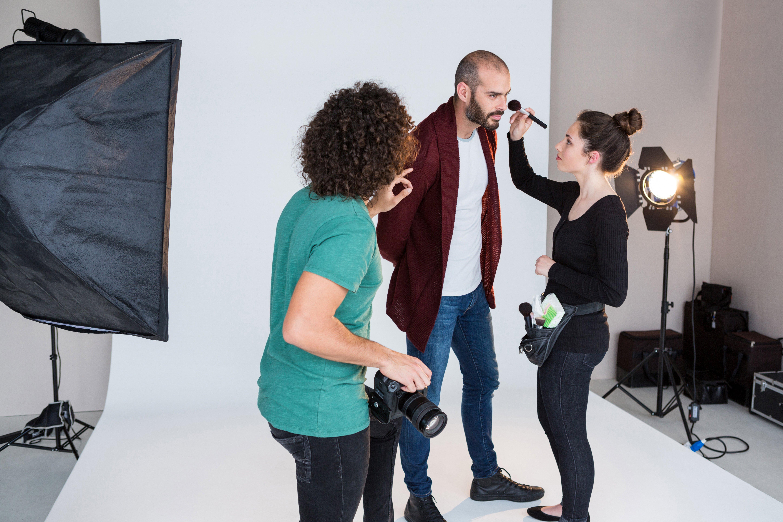 agency model on set at photo shoot
