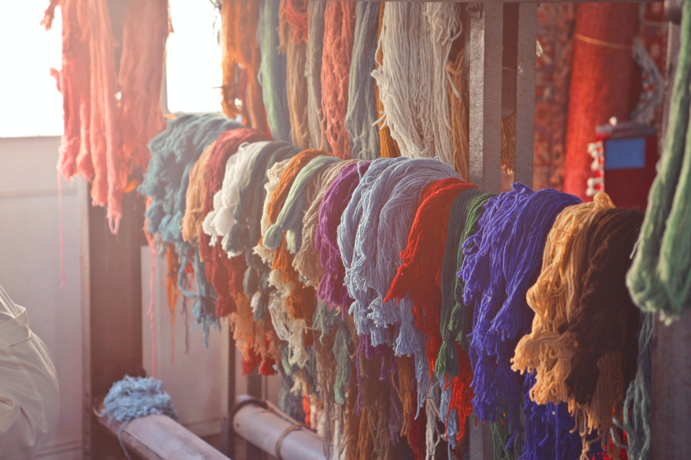 colorful fabrics in a market