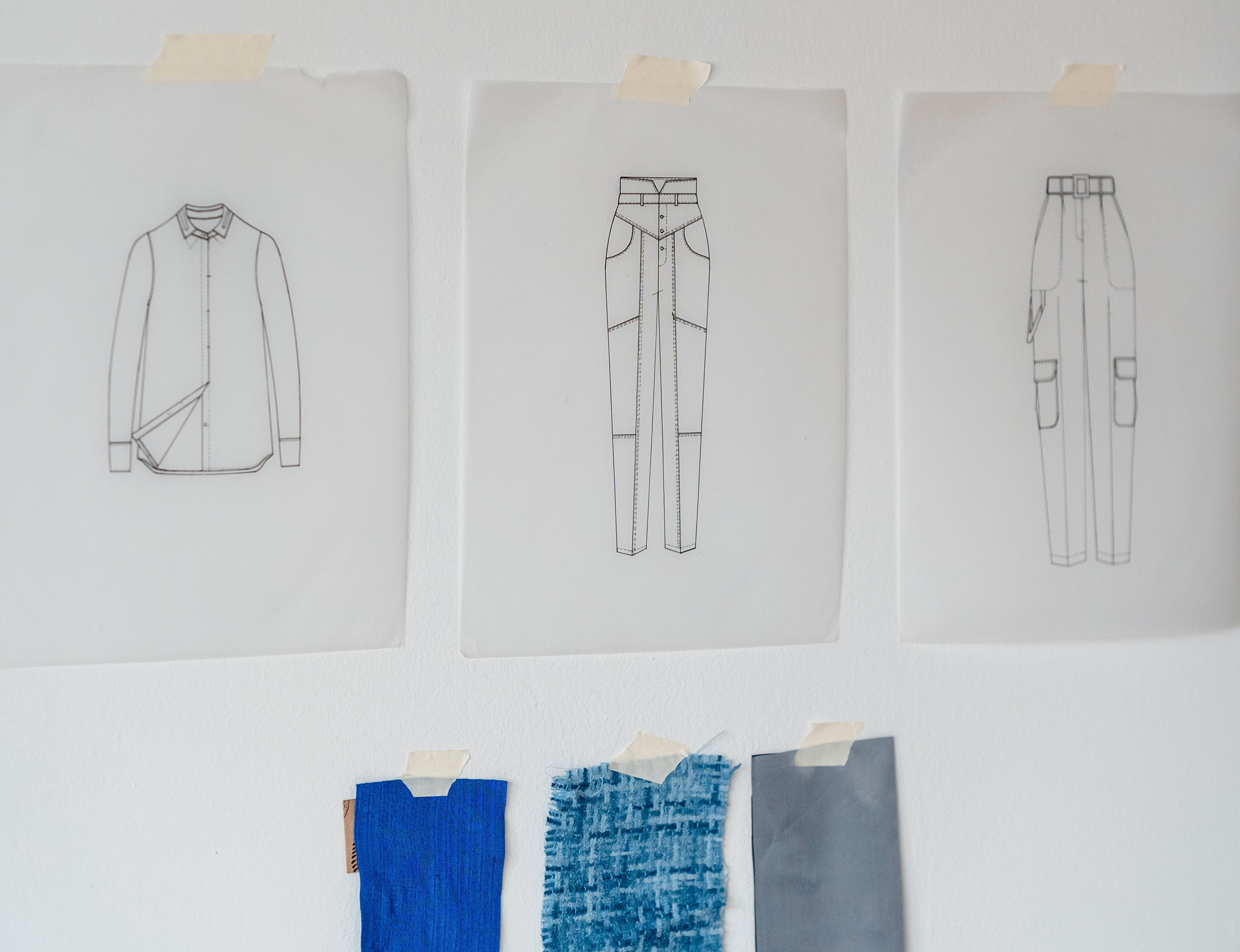 garment sketches and fabric