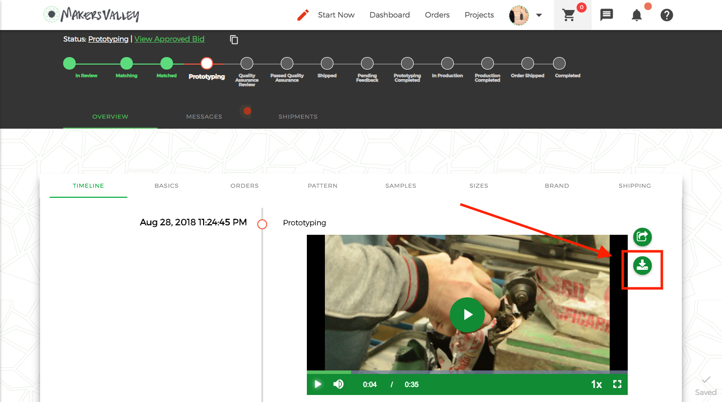 Download video of your product as it's made in Italy directly from the MakersValley online platform.