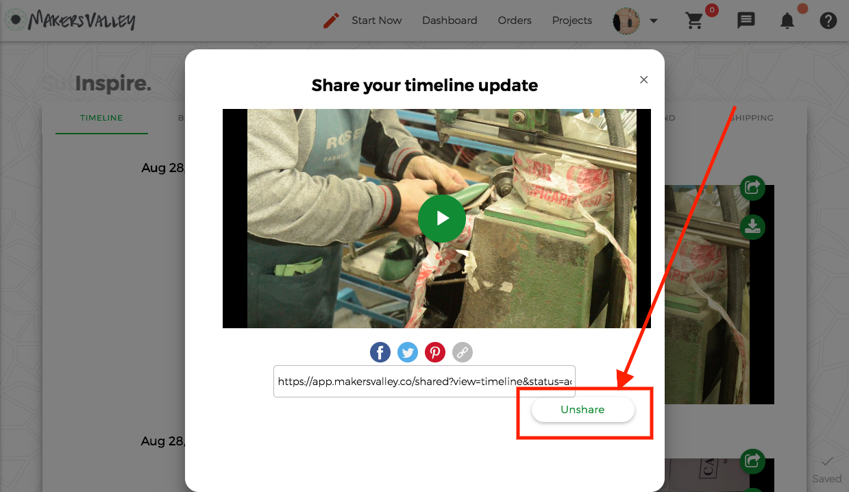 Share and Unshare images and videos from your MakersValley project Timeline directly to and from your social media accounts.