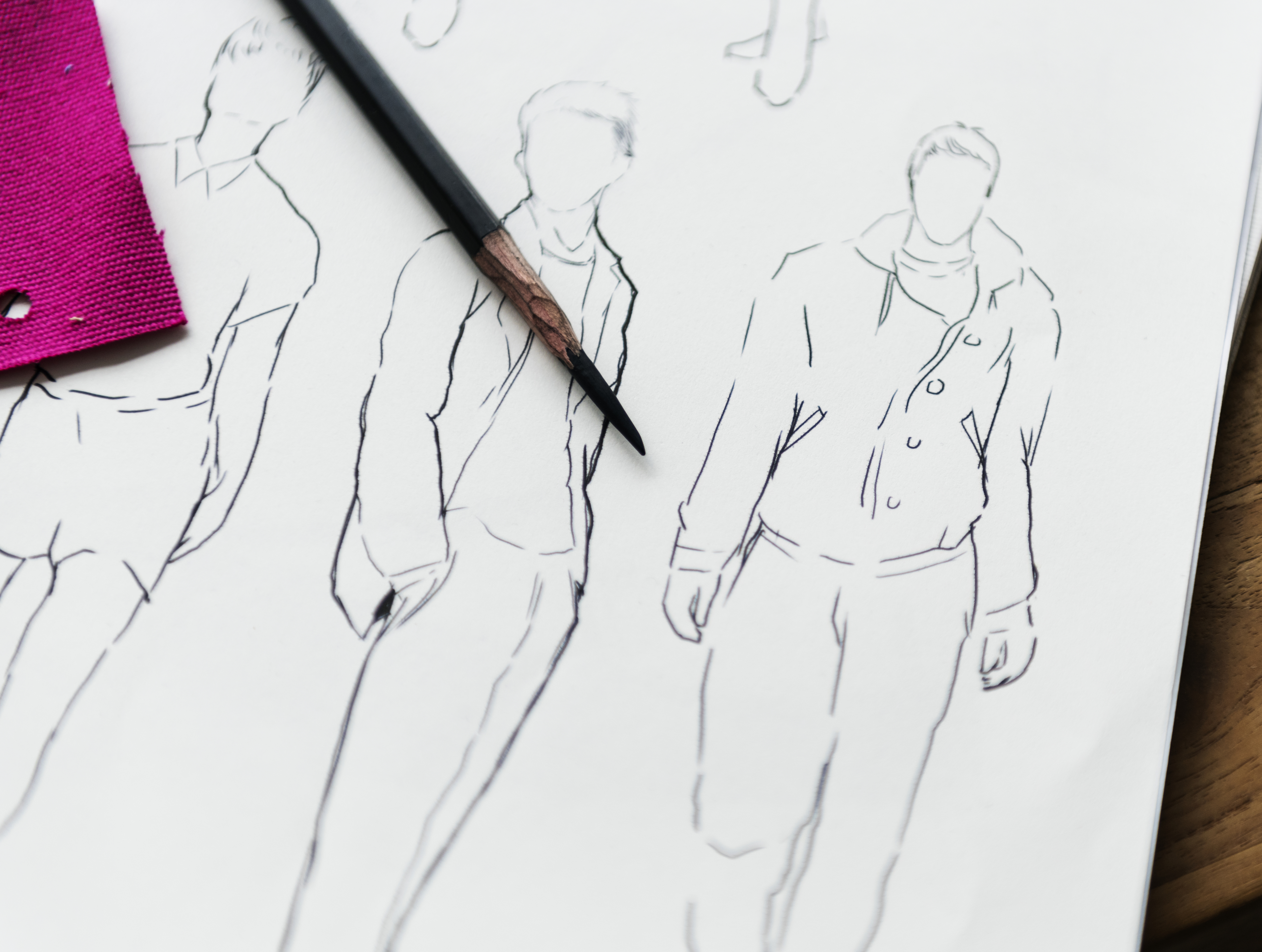 Sketches from a clothing design tech pack