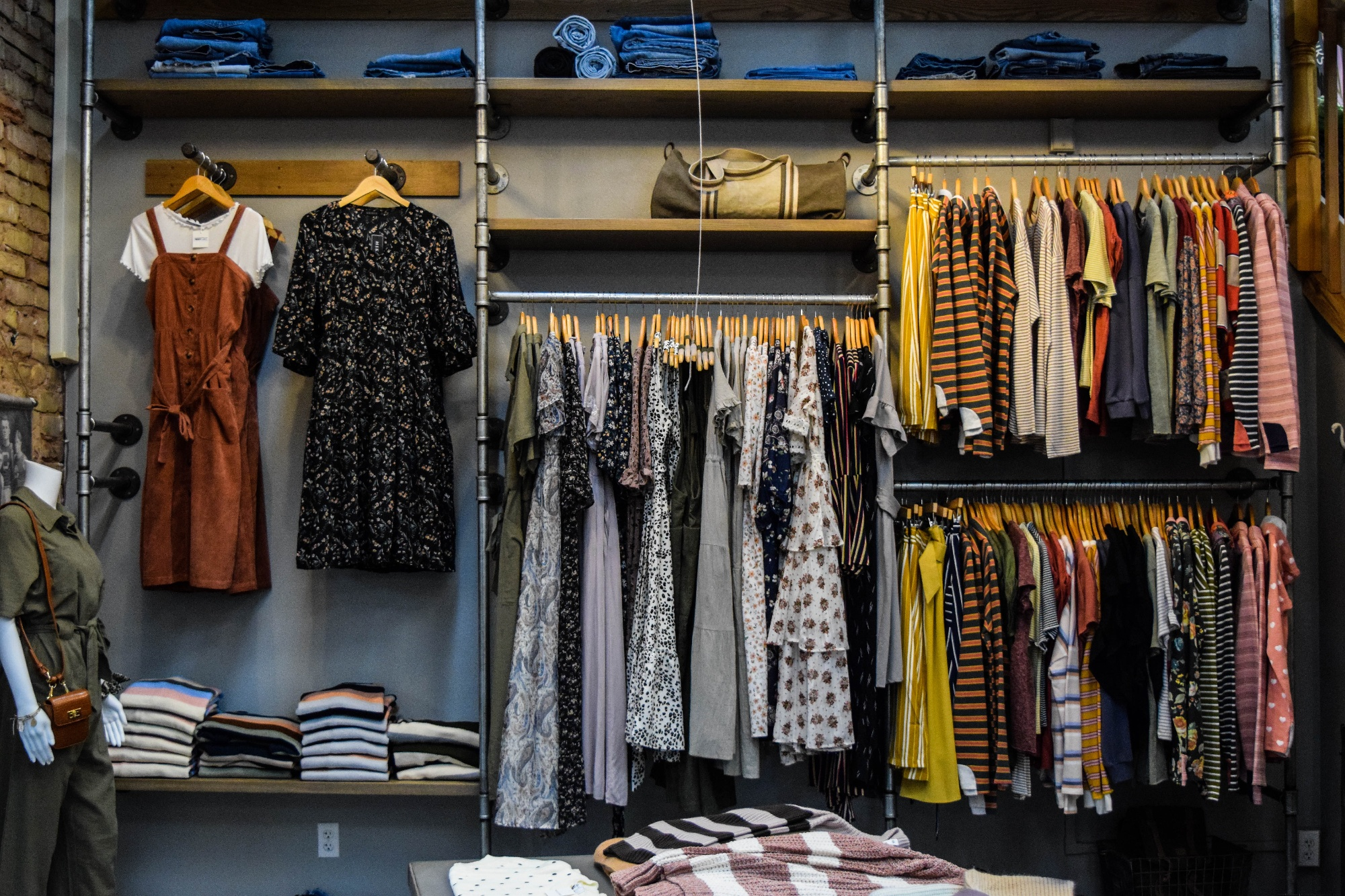 clothes in a boutique
