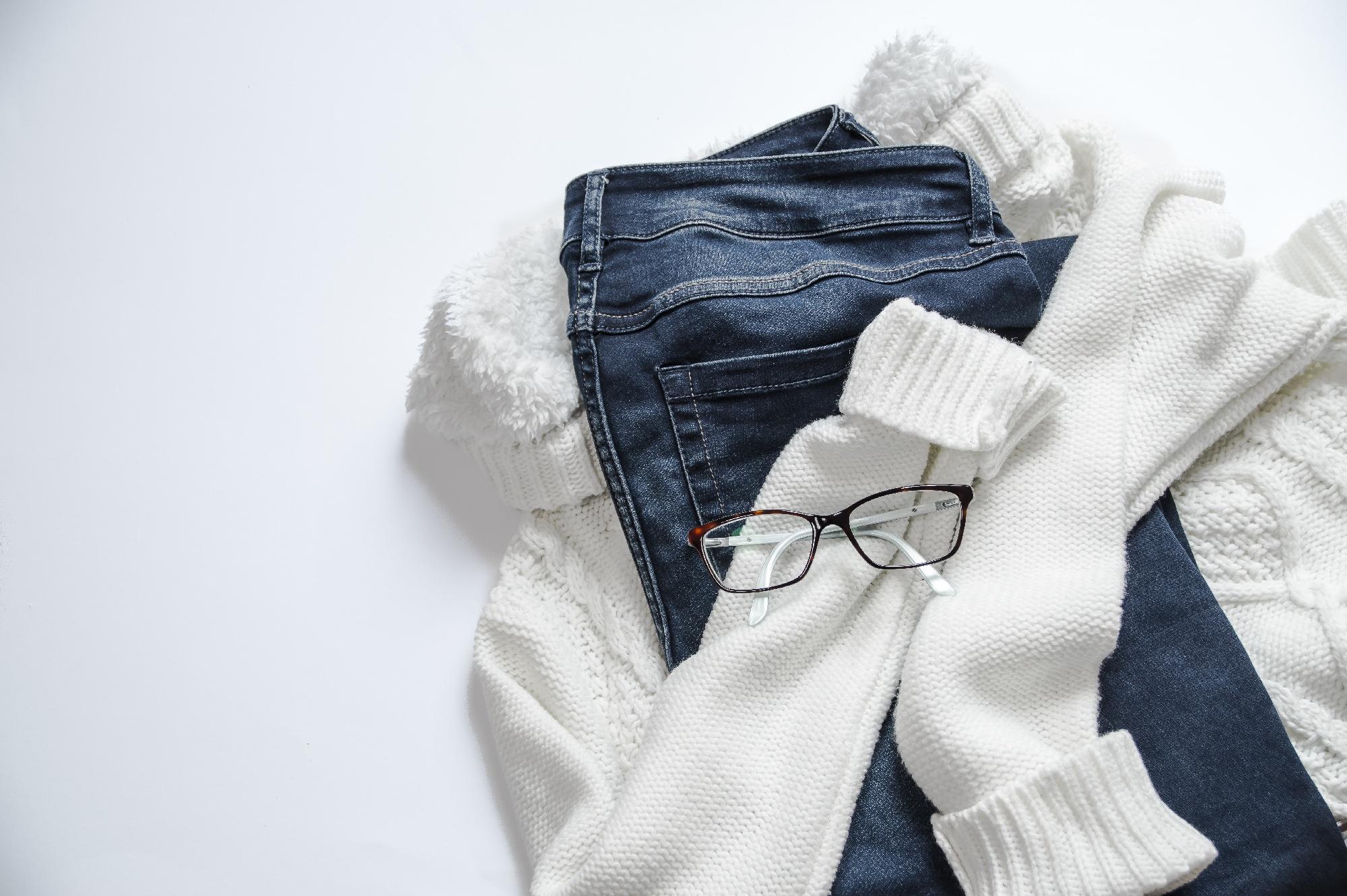 cashmere sweater and denim
